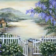 Tuscan Pond And Wisteria Art Print