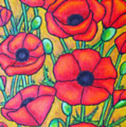 Tuscan Poppies - Crop 1 Art Print