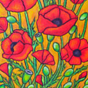 Tuscan Poppies - Crop 2 Art Print