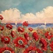 Tuscan Riviera Red Poppies Art Print