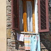 Tuscan Window And Laundry Art Print