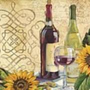 Tuscan Wine And Sunflowers Art Print