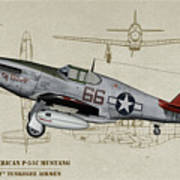 Tuskegee P-51b By Request - Profile Art Art Print