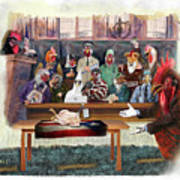 Twelve Angry Roosters Art Print