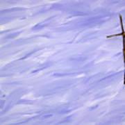 Twig Cross On Purple Art Print