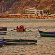 Twilight At The Beach, Miraflores, Peru Art Print