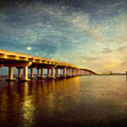 Twilight Biloxi Bridge Art Print