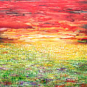 Twilight Bounds Softly Forth On The Wildflowers Art Print