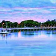 Twilight City Lake View Art Print