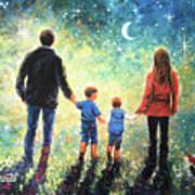 Twilight Walk Family Two Sons Art Print