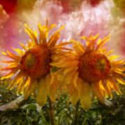 Twin Sunflowers Art Print