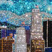 Los Angeles. Rhinestone Mosaic Beadwork Mix Art Print