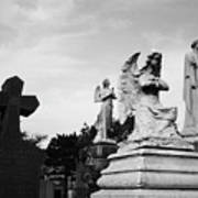 Two Angels Joseph, Jesus And A Bold Cross In A Cemetery Art Print