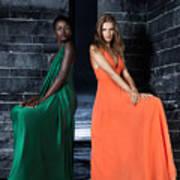 Two Beautiful Women In Elegant Long Dresses Art Print