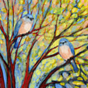 Two Bluebirds Art Print by Jennifer Lommers