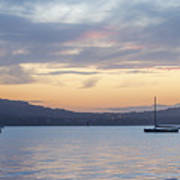 Two Boats In Blue Holywood Art Print