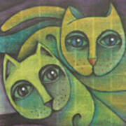 Two Cats  2000 Art Print