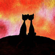Two Cats And Sunset Silhouette Art Print