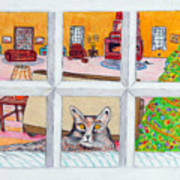 Two Cats In The Window Art Print