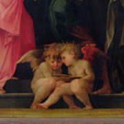 Two Cherubs Reading Detail From Madonna And Child With Saints Art Print