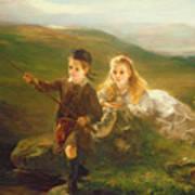 Two Children Fishing In Scotland   Art Print