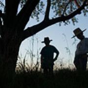 Two Children In Cowboy Hats Art Print