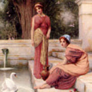 Two Classical Maidens And A Swan Art Print