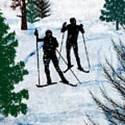 Two Cross Country Skiers In Snow Squall Art Print