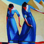 Two Dancers With Three Pyramids Art Print