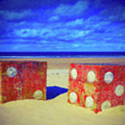 Two Dice On A Beach Art Print