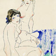 Two Female Nudes By The Water Art Print