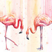 Two Flamingos Watercolor Art Print