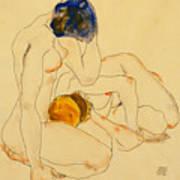 Two Friends Print by Egon Schiele
