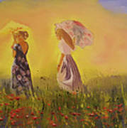 Two Friends Walking In The Field Art Print