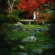 Two Girls In Kimono Standing On A Bridge In Japanese Garden In A Art Print