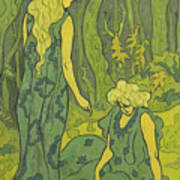 Two Girls Next To The Head Of Orpheus Art Print