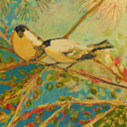 Two Goldfinch Found Art Print by Jennifer Lommers