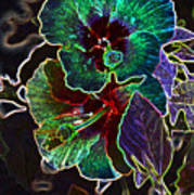 Two Hibiscus Glowing Edges Abstract Art Print