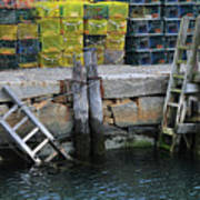 Two Ladders At High Tide Art Print