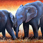 Two Little Elephants Art Print