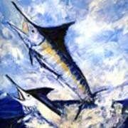 Two Marlin A Blue And A Striper Art Print