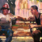 Two Men On A Bench Art Print