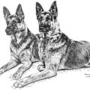 Two Of A Kind - German Shepherd Dogs Print Art Print by Kelli Swan