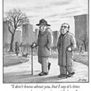 Two Older Men Walk With Canes Through A Park. Art Print