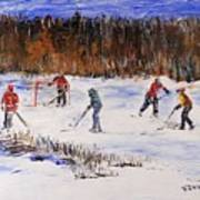Two On Two On The Frozen Pond Art Print
