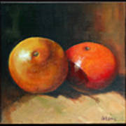 Two Oranges Art Print by Pepe Romero