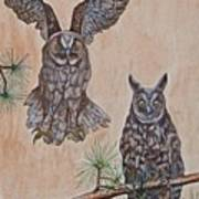 Two Owls Art Print