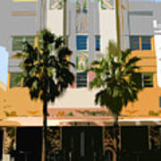 Two Palms Art Deco Building Art Print