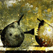 Two Pears Pierced By A Fork. Art Print