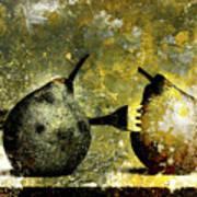 Two Pears Pierced By A Fork. Print by Bernard Jaubert
